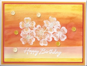 Birthday Card Watercolor with embossing